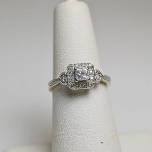 14KT White Gold Princess Cut Diamond Ring With Diamond Accents