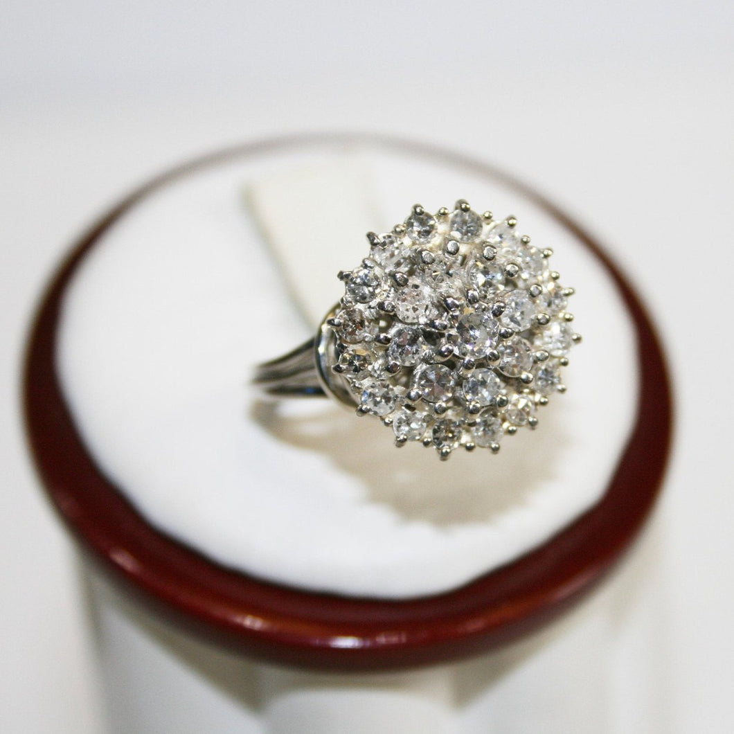 14KT White Gold Diamond Bouquet Cluster Ring 1+ Carats
