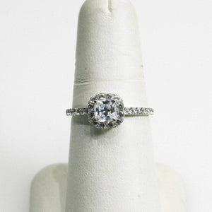 14KT White Gold Cubic Zirconia Halo Style Ring