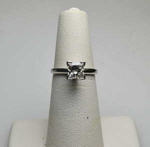 14KT White Gold Princess Cut Solitaire Engagement Ring