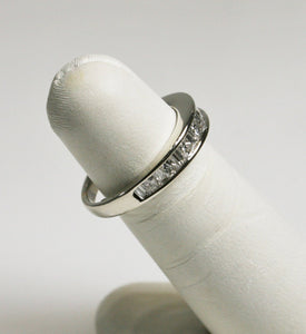 14KT White Gold Diamond Band Princess & Baguette Diamonds