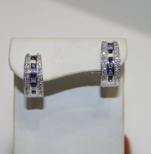 18KT White Gold Diamond And Sapphire Earrings 1.25CT