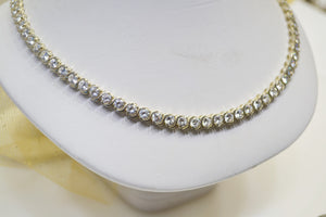 Sterling Silver Cubic Zirconia Tennis Necklace 20 Carat Total