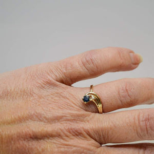 10KT Yellow Gold Sapphire & Diamond Ring Blue Promise Ring