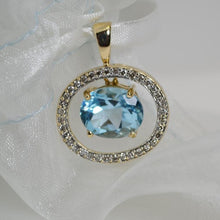 Load image into Gallery viewer, 10KT Yellow Gold Blue Topaz And Diamond Pendant