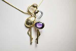 14KT Yellow Gold Diamond & Amethyst Flamingo Pendant Pin
