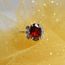 Load image into Gallery viewer, 14KT Yellow Gold 4 Carat Oval Garnet & Diamond Ring