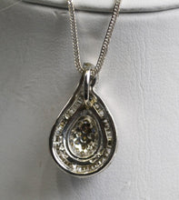 Load image into Gallery viewer, 14KT White Gold Diamond Tear Drop Shaped Pendant