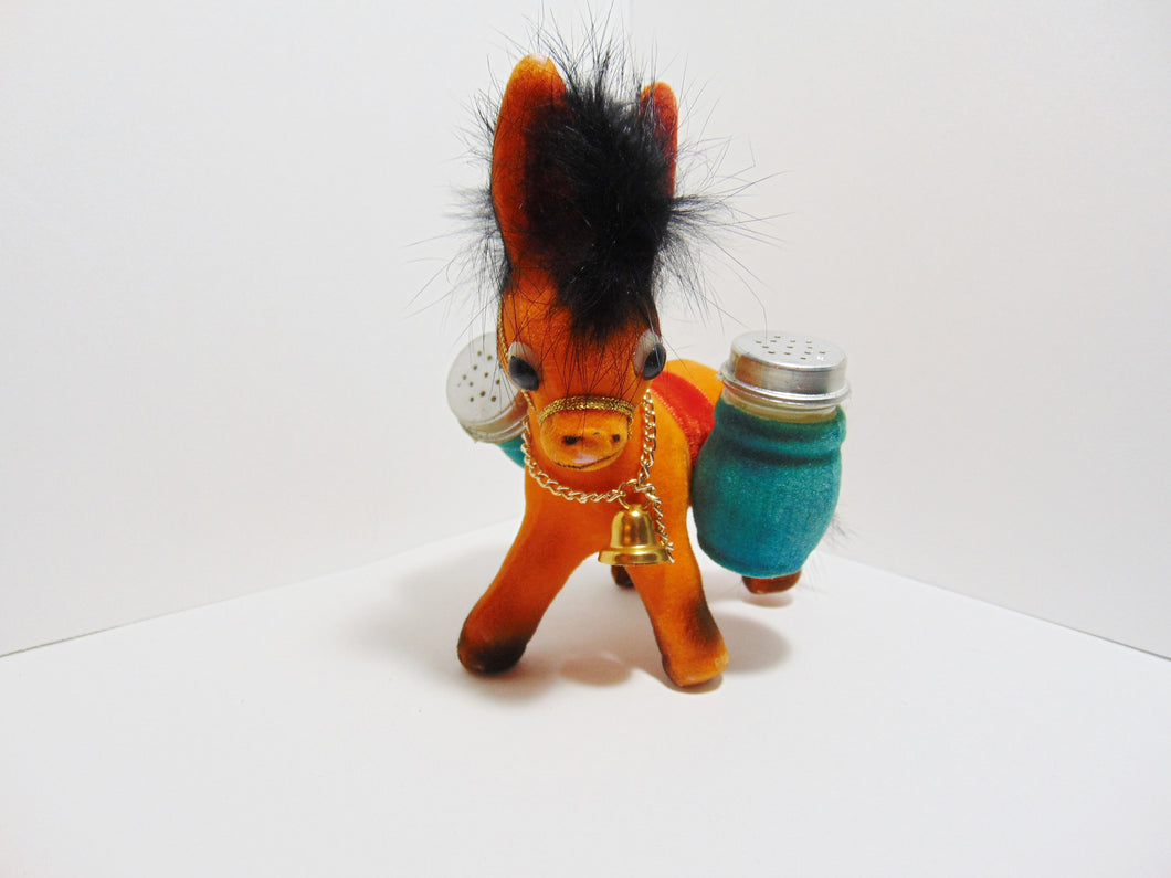 Vintage Salt Pepper Shakers Donkey Mexico Carrying Load Beast Of Burden