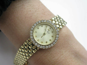 Piccard Ladies 14KT Yellow Gold Diamond Watch Swiss Made