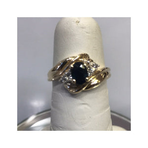 14KT Yellow Gold Oval Sapphire And Diamond Ring Deep Blue