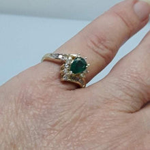 Load image into Gallery viewer, 14KT Yellow Gold Pear Shaped Emerald Ring With Diamond Accents -  - Philadelphia Gold & Silver Exchange