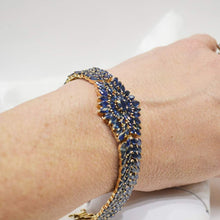 Load image into Gallery viewer, Ladies Fancy 14K Yellow Gold Estate Sapphire Bracelet 22 Carats Blue Sapphire