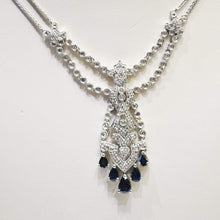 Load image into Gallery viewer, 14KT White Gold Diamond And Sapphire Necklace