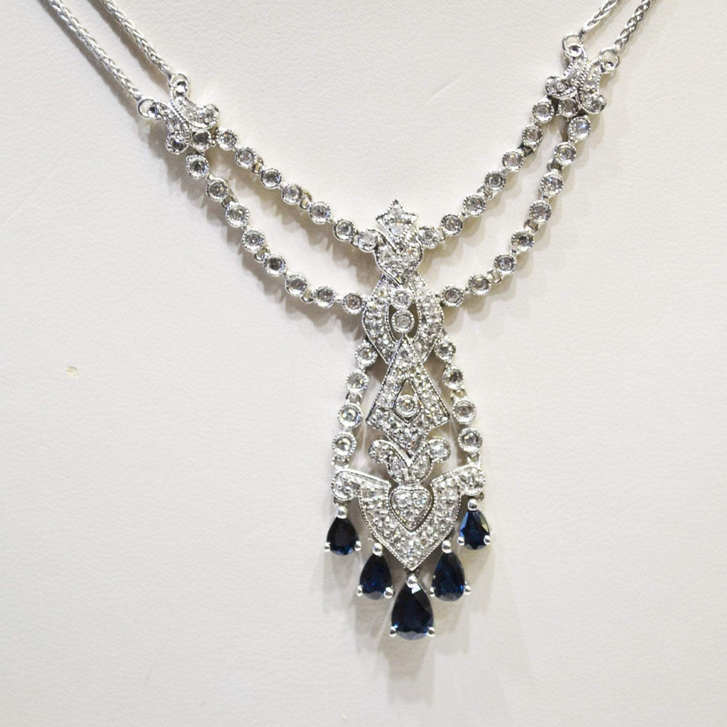14KT White Gold Diamond And Sapphire Necklace