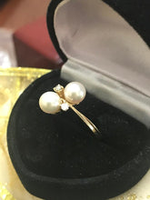 Load image into Gallery viewer, 14KT Yellow Gold Pearl And Diamond Classic Cocktail Ring