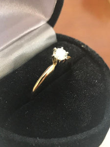 14KT Yellow Gold Diamond Solitarie Engagement Ring Forever Classic