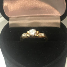 Load image into Gallery viewer, Antique 14KT Yellow Gold Diamond Engagement Ring European Cut Diamond