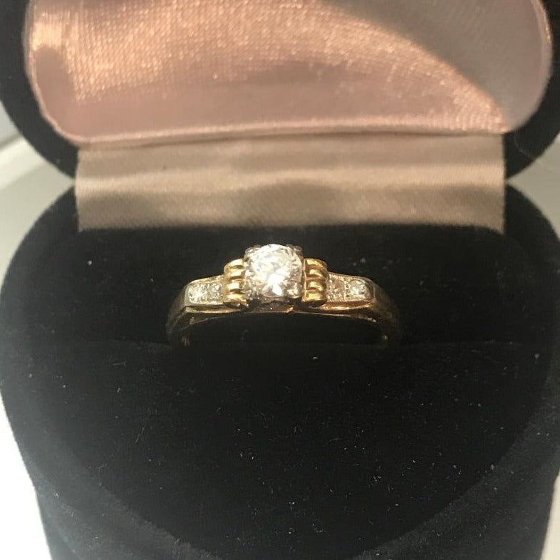 Antique 14KT Yellow Gold Diamond Engagement Ring European Cut Diamond