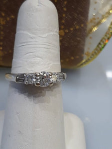 18KT White Gold Diamond Engagement Ring With GIA Cert .80 Pts Baguettes Philadelphia Gold & Silver Exchange  diamond engagement baguette