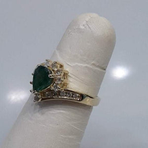 14KT Yellow Gold Pear Shaped Emerald Ring With Diamond Accents -  - Philadelphia Gold & Silver Exchange