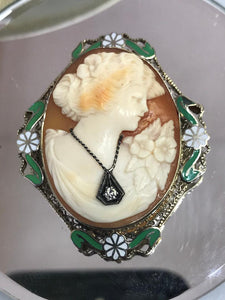 14KT White Gold Antique Victorian Cameo Hand Carved In Coral With Filigree