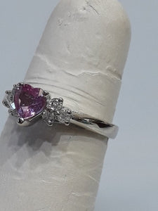 14KT White Gold Heart Shaped Pink Topaz And Diamond Ring