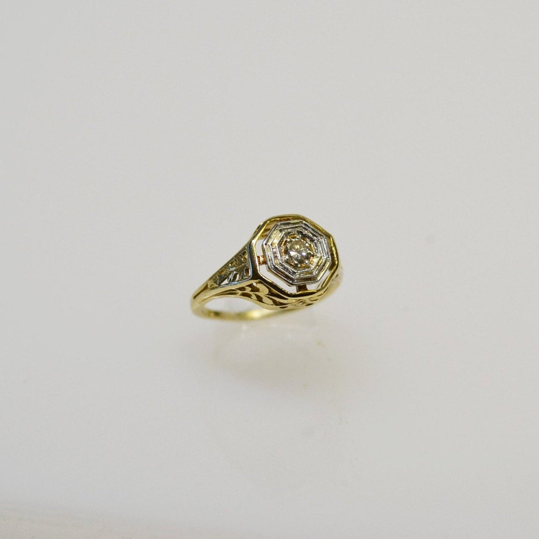 Antique 14KT Yellow Gold Filigree Diamond Ring With White Gold