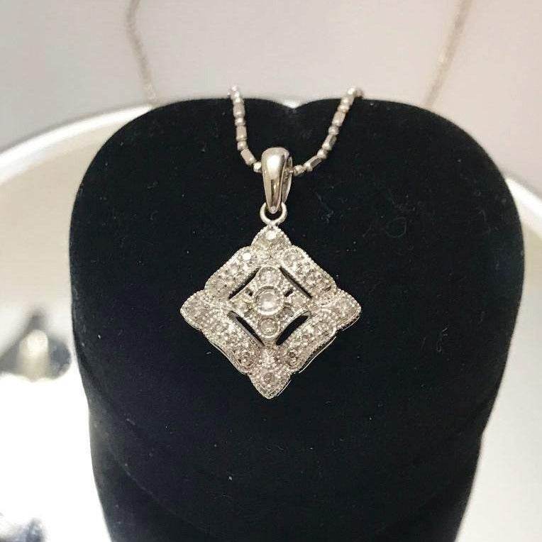 14KT Solid White Gold Vintage Style Diamond Pendant