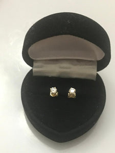 14KT Solid Yellow Gold Diamond Solitaire Stud Earrings