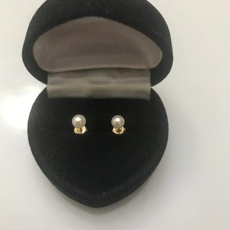 14KT Solid Yellow Gold Genuine Pearl Screwback Earrings