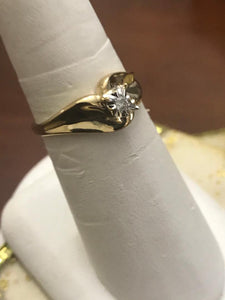 14KT Yellow Gold Fluted Bi-Pass Diamond Ring