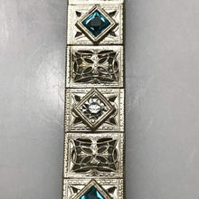 Load image into Gallery viewer, Sterling Silver .925 Filigree Bracelet With Diamond And Blue Tourmaline Stones