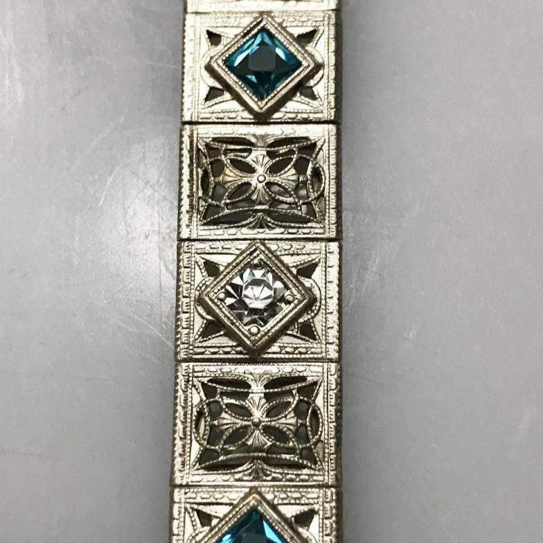 Sterling Silver .925 Filigree Bracelet With Diamond And Blue Tourmaline Stones