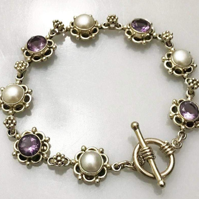 Sterling Silver Pearl And Amethyst Floral Motif Bracelet