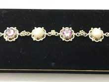 Load image into Gallery viewer, Sterling Silver Pearl And Amethyst Floral Motif Bracelet