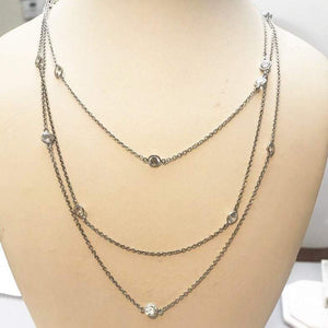 "Sterling Silver 10 Carat Synthetic Diamond Style Necklace 18"" Very Pretty"