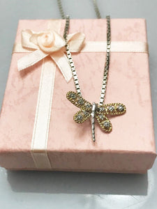 Sterling Silver .925 Box Chain Necklace With Diamond Style Dragon Fly Pendant