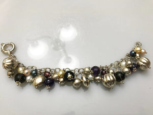 Fabulous Sterling Silver .925 Mixed Bead Colored Pearls Bracelet Made In Italy
