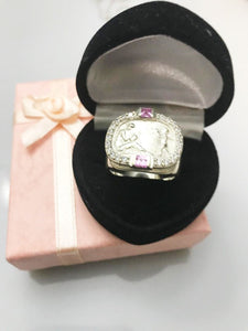 Heavy Sterling Silver Ring With A Pink Sapphire And Diamond Ring
