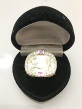Load image into Gallery viewer, Heavy Sterling Silver Ring With A Pink Sapphire And Diamond Ring