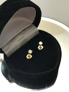 14KT Solid Yellow Gold Diamond Stud Earrings .25 Pts 1/4 Carat