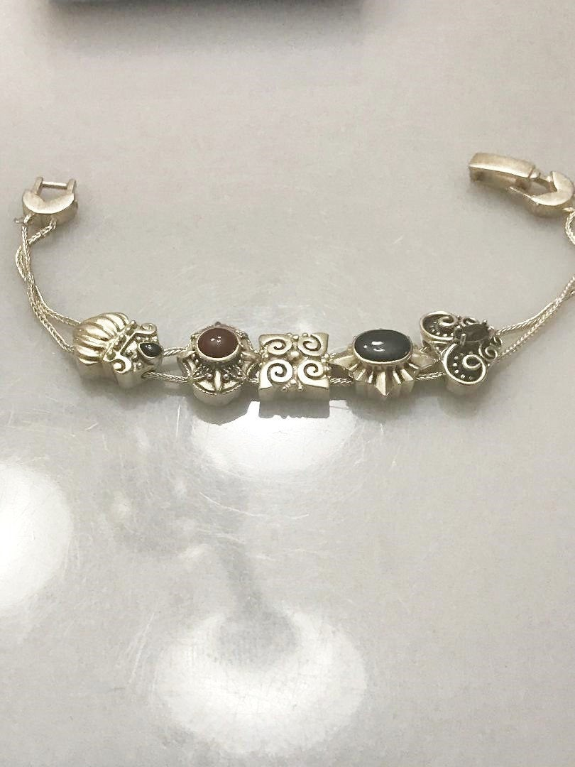 Sterling Silver .925 Vintage Style Slide Bracelet With Beads 7