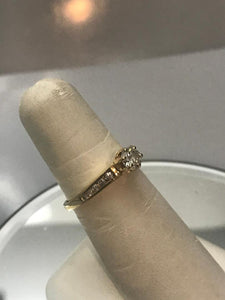 14KT Yellow Gold Diamond Tower Engagement Ring