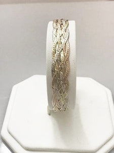 Sterling Silver .925 Tri-Color Gold Over Silver Herringbone Bracelet Italy