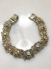 "Load image into Gallery viewer, Sterling Silver .925 Multi-Colored Stone & Marcasite Bracelet 7"" Long"