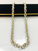 Load image into Gallery viewer, Sterling Silver .925 Twin Finish Cable Link Necklace With Heart Clasp