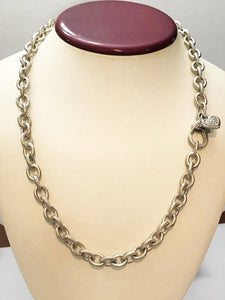 Sterling Silver .925 Twin Finish Cable Link Necklace With Heart Clasp