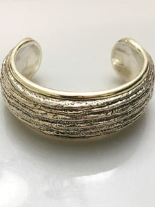 Sterling Silver .925 Designer N. S. Barron Cuff Bracelet With Gold Vermeil Trim