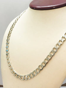 "Sterling Silver .925 20"" Solid Curb Link Necklace"